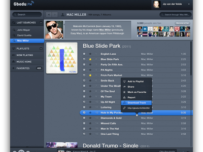 Music player #2 web tracks songs playlist blue ui dark music player music
