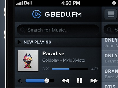 iOS Music player ios iphone mobile music music player paradise dark blue black grey player