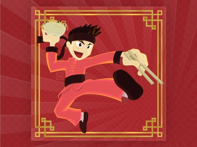 China na Caixa chinês chinese restaurante restaurant china china in box yakissoba kung fu character personagem mascot mascote ilustração illustration