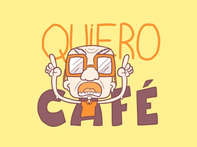Quiero café loja moita moita veinho velhinho coffee café quiero café quero café tees tee t-shirt graphic design design gráfico illustration
