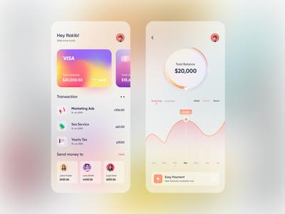 Banking  App design mobile app rakib ux ui wallet app wallet online banking financial gradient finance app finance colorful clean ios mobile app design mobile banking banking app banking