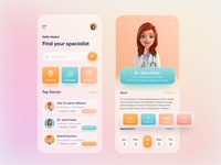 Doctor Appointment Mobile App healthcare ios home screen health app doctor appointment appointment medical app doctor app uiux ux ui online physician medicine illustration doctor consultation