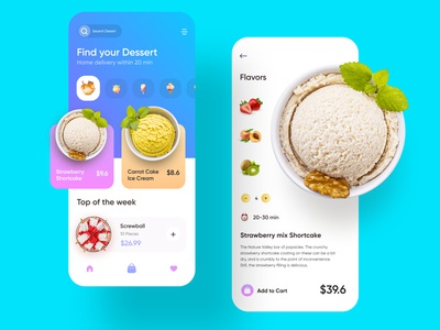 Dessert Mobile App uiux ux ui minimal new style mobile app ios app design grocery app rakib app designer app design 2020 trend ios visual design delivery app food app icecream chocolate food