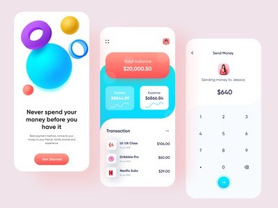 Banking App Design | Mobile Bank ios app design visual design 2020 trend rakib ux ui wallet app wallet online banking financial financemobile finance app finance colorful clean mobile app design mobile banking banking app banking