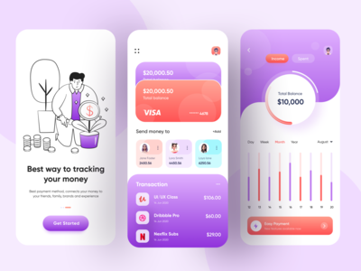 Finance Mobile App wallet app wallet visual design ux ui rakib online banking money transfer mobile banking ios app design financial finance app finance colorful clean banking app banking app design 3d ilustration 2020 trend
