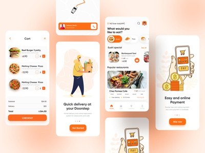 Food Delivery App | Restaurant App(full) restaurant app fast food rakib grocery food ordering food order food delivery service food delivery application food delivery app food delivery food app food and drink ux ui app ui app design minimal ios app design 2020 ui trends
