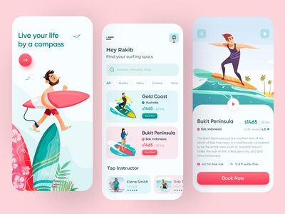Surfing Mobile App ux ui summer app android 2020 trend mobile app app design illustration tour travel adventure surfing app surfers surfboard surf app surfing surf
