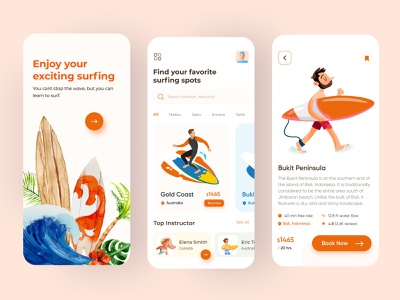 Surfing App | Summer Surface Water hiking ux ui summer app android 2020 trend mobile app app design illustration tour travel adventure surfing app surfers surfboard surf app surfing surf
