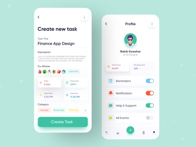 To Do List | Task Planner App profile mobile design ux ui to do list todo list todo app task manager task management app task list task app reminder reminder app product design minimal management management app ios app design app ui app design 2020 trend
