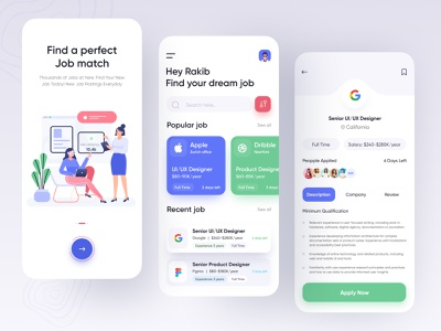 Job finder app | Job App uiux product modern minimal job app job list finder search job job finder job mobile design ux ui ios app design app ui app design 2020 trend