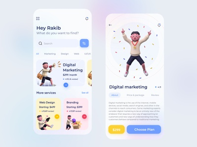 Digital Agency App Design clean design agency illustration seo digital marketing product design web design ux ui creative marketing app marketing colorful digital agency agency app