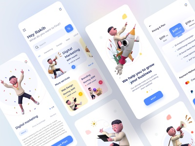 Digital Agency App Design(full) clean design agency illustration seo digital marketing product design web design ux ui creative marketing app marketing colorful digital agency agency app