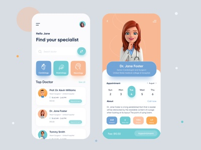 Doctor App | Find your doctor ios home screen health app doctor appointment appointment medical app doctor app uiux ux ui online physician medicine illustration doctor consultation