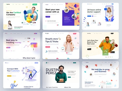 Multiple Website Designs UI/UX 2020 digital illustration website design web design uiux ux ui digital agency website portfolio social marketing marketing agency marketing website online banking finance website medical website doctor website online education education website maid cleaning website cleaning