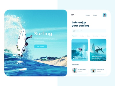 Surfing Web App surface design surfing website ux ui summer app android 2020 trend mobile app app design illustration tour travel adventure surfing app surfers surfboard surf app surfing surf