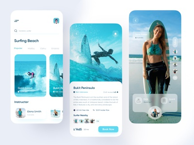 Surfing App | Summer Surf ux ui summer app android 2020 trend mobile app app design illustration tour travel adventure surfing app surfers surfboard surf app surfing surf