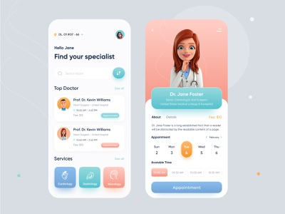 Medical App ios home screen health app doctor appointment appointment medical app doctor app uiux ux ui online physician medicine illustration doctor consultation