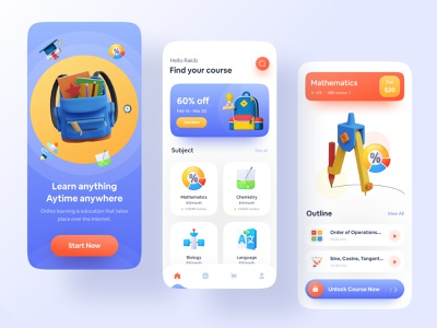 Online Education App colorful school app learning app education app study app education learning platform training online class online learning online course app ui user interface popular app design uiux 2021 trend