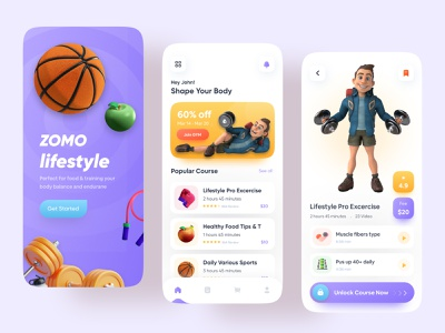 Healthy Lifestyle App app design mobile app healthy life yoga gym exercise app health app 2021 trend ux ui app workout home trainer fitness gym app lifestyle app fitness app