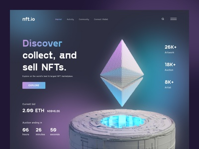 NFT Marketplace Website website design gallery trading cards ethereum nft crypto uiux ux ui web design webdesign landing page landing web site website web page webpage web bitcoin