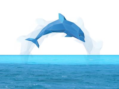 Polygonal dolphin for EMS Company dolphin polygonal logo sea branding