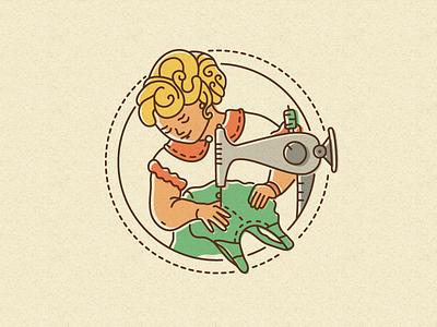 Frau Wertmiller illustration seamstress sewing workshop woman logo