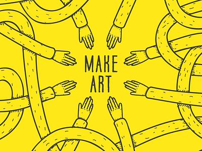 Make art make art pattern logo hands