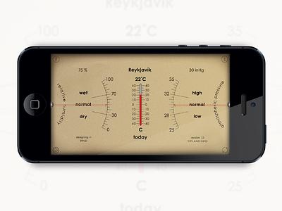 Analog Weather Station ux ui arrows vintage forecast humidity barometer weather mobile interface analog