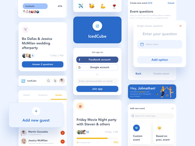 IcedCube. Collective questionnaire and planning app UI kit guests forms organization invite party event social friends app design components survey planning questionnaire app kit ux ui mobile