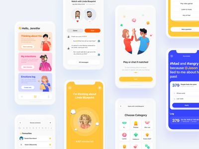 Inner. Find out how your feelings matches with people nearby intention onboarding statistic location log contacts feelings match emotion mention plans friend company quiz chat social interface ui ux app