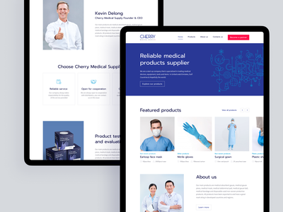 Cherry Medical. Corporate website for the medical supply company minimal company about us banner supply clean health healthcare brand medicine medical products cards desktop user interface web ux figma design ui