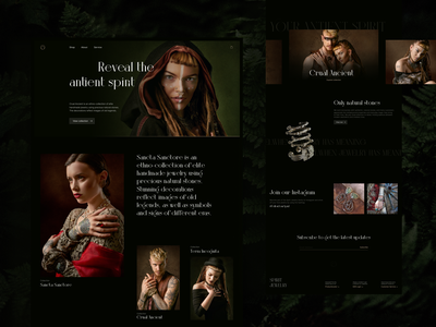 SPIRIT. Ethnic jewelry online-shop concept typogaphy lookbook ethnic webpage jewels jewellery fashion product ecommerce shop store minimal dark concept desktop user interface web design ux ui