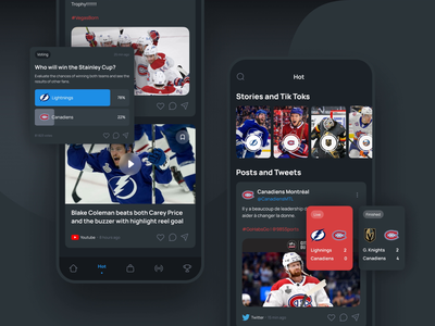 Scorer. All sport social posts in one place user interface animation match nhl news vote score sport mobile app figma design ux ui