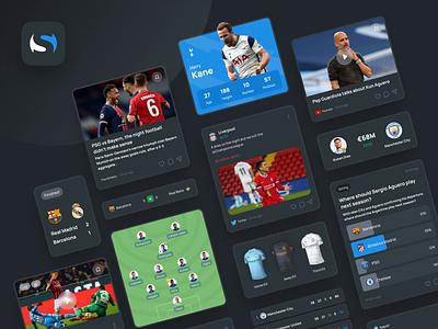 Scorer. Flexible and re-usable design system news match score elements cards design system sport user interface figma design ux ui
