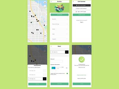BikeRentApp flat app web minimal ux design ui