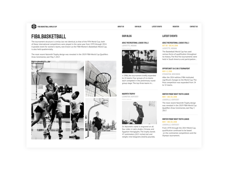 Basketball World Cup Blog branding website web minimal design ux ui