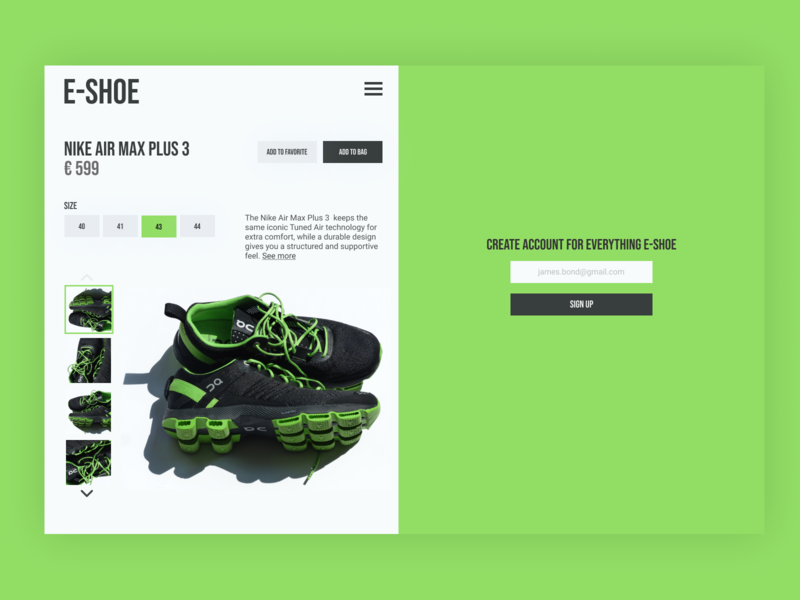 EShoe flat website minimal web design ux ui