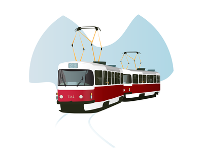Tram illustrator flat logo icon vector branding illustration minimal