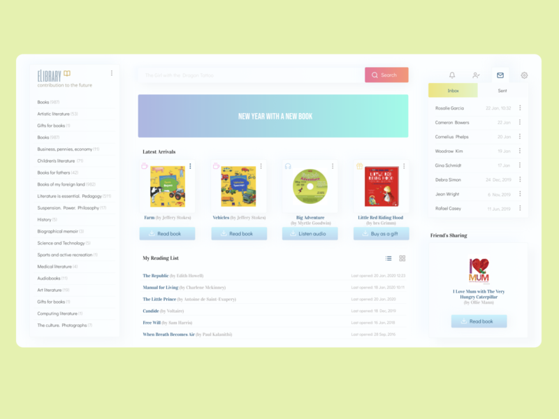 eLibrary app website web minimal ux design ui