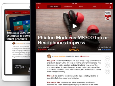 CNET iPad- Reviews & Article page tablet ios typography article news cnet ipad app reviews