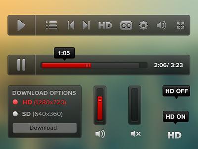Video player elements web hd icon video player video player controls icons ui design scrub bar kit