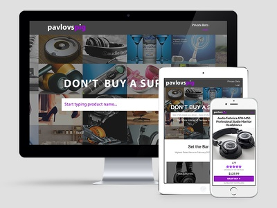 Pavlov's Pig Responsive site design purple shopping android ios ipad tablet review commerce mobile web responsive