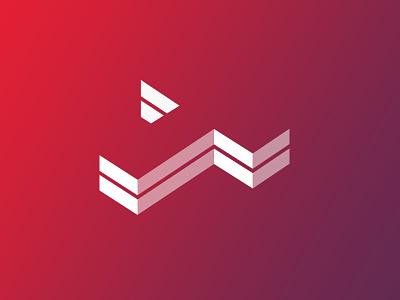 TechToday Logo (concept) 3d purple red gradient typography icon vector wordmark identity brand logo