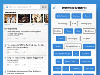 Guzzlefish Search + Tags Concepts overlay ux ui android ios search filters tag blue mobile app