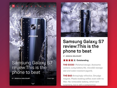 Tech Today Review Page ux ui tech review red reader news mobile iphone ios article app