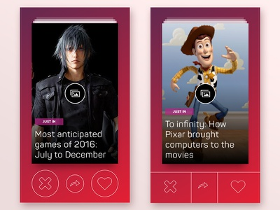 News App Concepts cards content news ux ui mobile swipe gallery red tinder