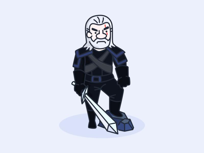 Geralt of Rivia namilurihas simple illustration cartoon the witcher geralt sticker character mascot