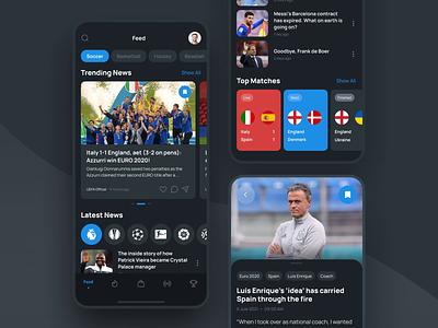 Scorer. Multi-sport mobile app sport app motion graphics animation scores broadcast fanstore news soccer football euro2020 sport mobileapp uidesign appdesign app ux ui