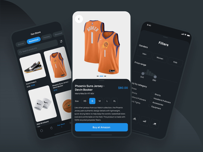 Scorer - the mobile sport app. Fan store for real fans product page filters ecommerce store basketball animation uidesign mobileapp nba fan store sport interface app ux ui