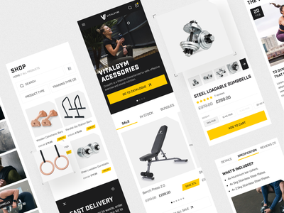 eCommerce website. Shopify store for home gym equipment workout training health lifestyle fitness ecommerce mobile sport gym catalog cards branding filters design interface ux ui